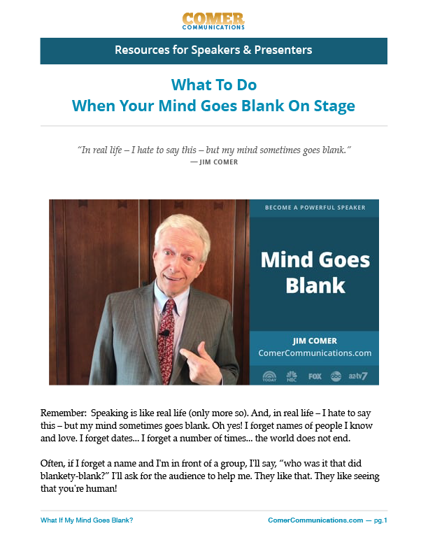 What should you do when your mind goes blank on stage?